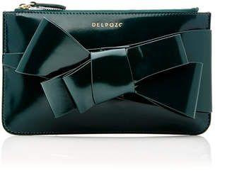 DELPOZO M'O Exclusive Mini Bow-Embellished Patent-Leather Clutch