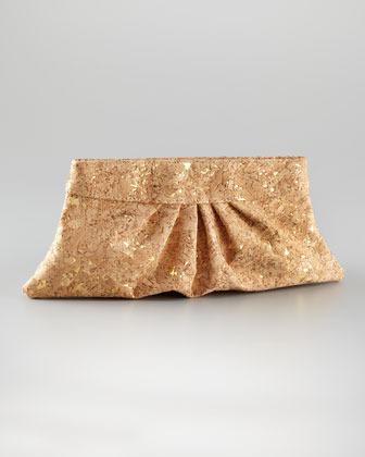 Lauren Merkin Louise Pleated Cork Clutch Bag