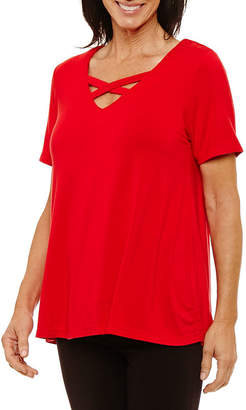 Sag Harbor Short Sleeve V Neck T-Shirt-Womens