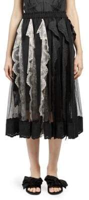 Simone Rocha Pleated Lace Trim A-Line Skirt