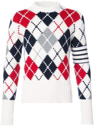Thom Browne Crewneck Pullover With Argyle Intarsia And White 4-Bar Stripe In Cashmere