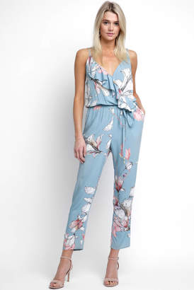 Plum Pretty Sugar Ruffle Surplice Floral Jumpsuit