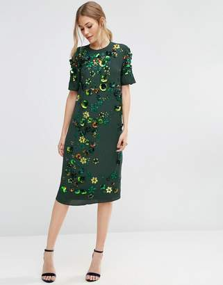 ASOS Emerald Embellished Shift Midi Dress $143 thestylecure.com