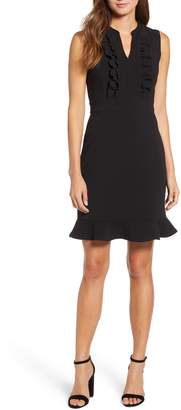 Karl Lagerfeld PARIS Ruffle Front Sleeveless Sheath Dress