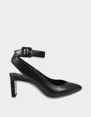 46daa37b1d47 Jimmy Choo Lou Mid Pumps with Ankle Strap in Black Shiny Smooth Leather