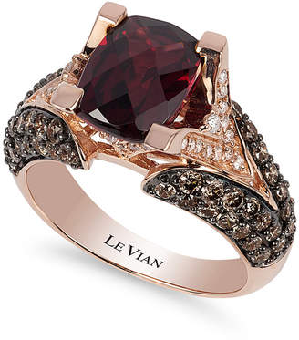 LeVian Le Vian Raspberry Rhodolite® Garnet (3 ct. t.w.), Chocolate Diamonds® (1-1/5 ct. t.w.) and White Diamond Accent Ring in 14k Rose Gold