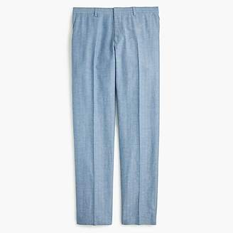 J.Crew Ludlow Slim-fit unstructured suit pant in blue herringbone cotton-linen