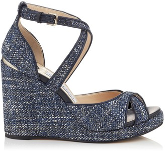 Jimmy Choo ALANAH 105 Navy Mix Metallic Tweed Wedges