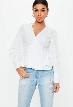 Missguided White Wrap Tie Side Blouse