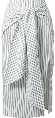 Jason Wu Tie-front Striped Seersucker Skirt - Blue
