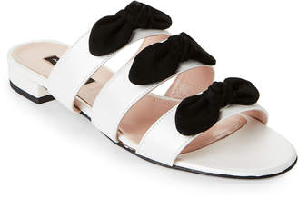 Alberto Zago White & Black Bow-Accented Flat Sandals
