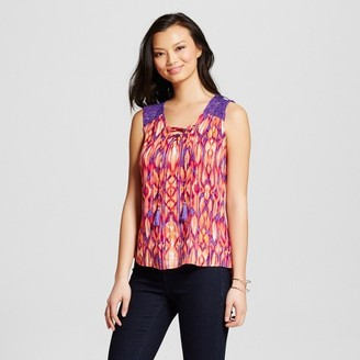 Como Black Women's Printed Lace Up Tank with Lace Shoulder $32.99 thestylecure.com