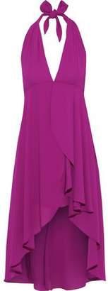 Halston Asymmetric Crepe De Chine Halterneck Dress