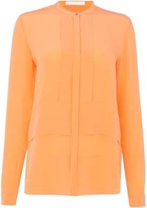 HUGO BOSS longsleeve woven silk blouse with pleated back