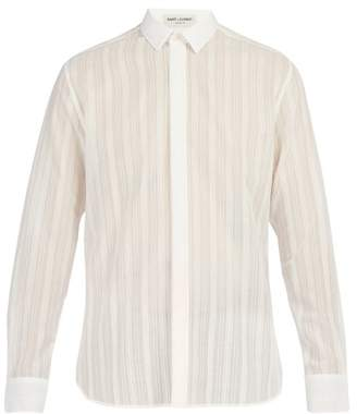 Saint Laurent Striped Cotton Voile Shirt - Mens - Cream