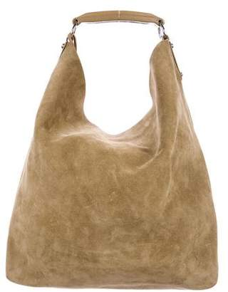 Balenciaga Leather-Trimmed Suede Hobo