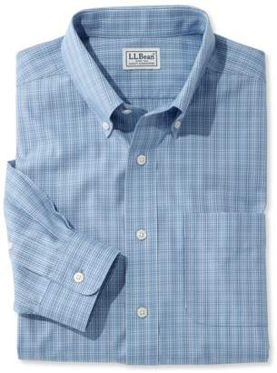L.L. Bean L.L.Bean Men's Wrinkle-Free Pinpoint Oxford Shirt, Long-Sleeve Slim Fit Tattersall