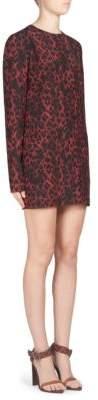 Saint Laurent Leopard-Print Silk Shift Dress