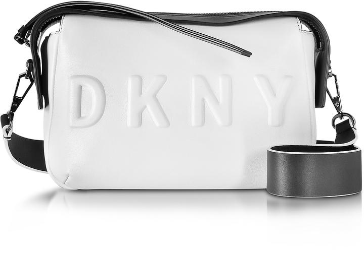 DKNY Debossed Logo Cream/Black Leather Crossbody Bag