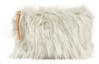 Nordstrom At Home Cuddle Up Faux Fur Pouch - Grey $25 thestylecure.com