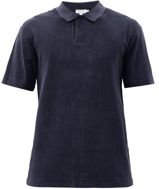 Sunspel Riviera Cotton Terry Polo Shirt - Mens - Navy