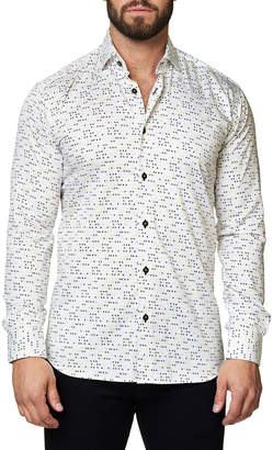 Maceoo Shaped-Fit Triangle-Print Sport Shirt