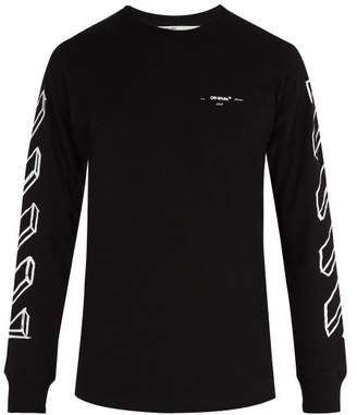 Off-white - Diag Print Cotton T Shirt - Mens - Black