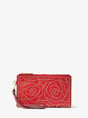 MICHAEL Michael Kors Adele Rose Studded Leather Smartphone Wallet