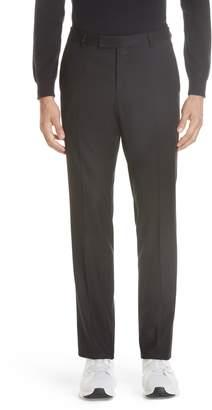 Ermenegildo Zegna Flat Front Solid Stretch Wool Trousers