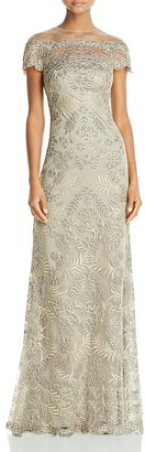 Tadashi Shoji Illusion Off-The-Shoulder Lace Gown $548 thestylecure.com