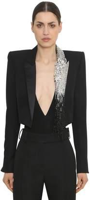 Alexandre Vauthier Embellished Cool Wool Bolero Jacket