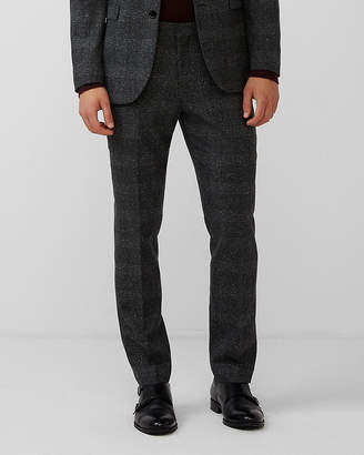 Express Slim Charcoal Plaid Wool-Blend Suit Pant