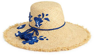 Kate Spade Embroidered Hibiscus Raffia Sun Hat
