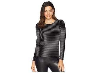 Vince Camuto Long Sleeve Puff Shoulder Thin Ribbed Stripe Top