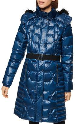 Andrew Marc Faux Fur-Trim Belted Puffer Coat