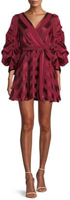 Alice + Olivia Santina Tuck-Sleeve Tie-Waist Mini Wrap Dress