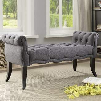 Ophelia & Co. Campbell Traditional Roll Arm Upholstered Bench