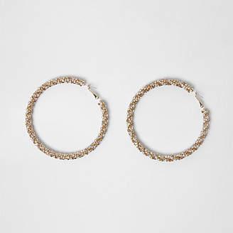 River Island Gold tone sparkle rope hoop earrings