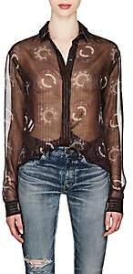 Saint Laurent Women's Embellished Silk Crepe Blouse - Navy
