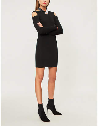 Versace Cold-shoulder knitted dress