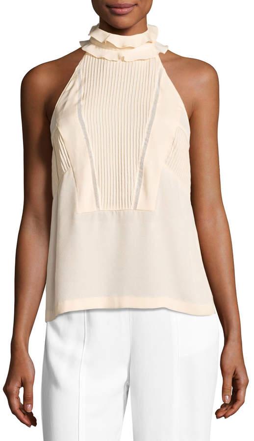A.L.C. Grace Sleeveless Pintucked Silk Top, Blush