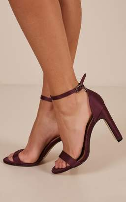 Showpo Therapy - Tully Heels in plum satin
