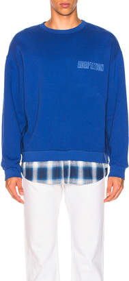 Adaptation Crewneck With Shirt Tail in Blue Chrome | FWRD