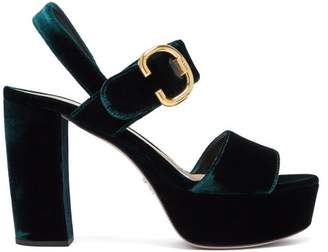 Prada Velvet Platform Sandals - Womens - Dark Green