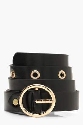 boohoo Circle Buckle Eyelet Belt