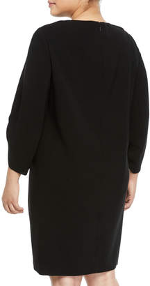 Lafayette 148 New York Tory 3/4-Sleeve Finesse Crepe Shift Dress, Plus Size