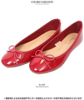 GROWINGRICH [シューズ 靴 小物 雑貨]雨の日だって足もとから可愛く エナメルバレエシューズ 22.5-24.0[180919]