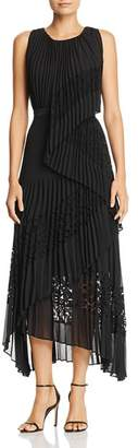 BCBGMAXAZRIA Lace-Inset Pleated Dress