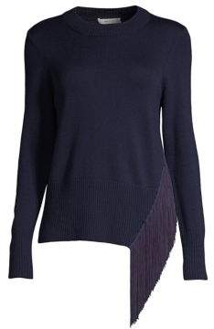 Milly Angled Fringe Wool Pullover