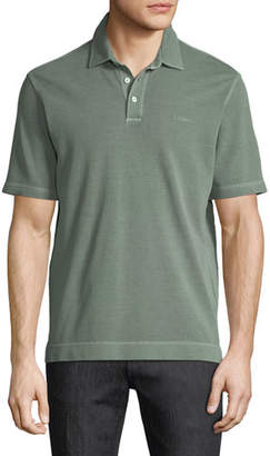 Ermenegildo Zegna Piqué-Knit Polo Shirt, Green